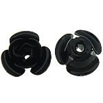 Beads bizhuteri Hekuri, Lule, stoving llak, asnjë, e zezë, , nikel çojë \x26amp; kadmium falas, 8x7.50x5mm, : 1mm, 500PC/Shumë,  Shumë