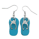 Një palë vathë gur i çmuar, Bruz sintetike, with Tunxh, Këpucët, ngjyrë platin praruar, asnjë, blu, 40mm, 12x22x2mm, 20Çiftet/Shumë,  Shumë