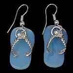 Një palë vathë gur i çmuar, Deti Opal, with Tunxh, Këpucët, ngjyrë platin praruar, asnjë, asnjë, 40mm, 12x22x2mm, 20Çiftet/Shumë,  Shumë