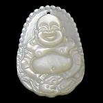 Pendants Natyrore White Shell, Buda, Gdhendur, asnjë, asnjë, 23x32x5mm, : 1mm, 10PC/I vendosur,  I vendosur