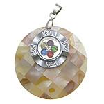 Pendants Shell, Shell ujërave të ëmbla, with Tunxh, Round Flat, ngjyrë platin praruar, me diamant i rremë, asnjë, 40x40x9mm, : 3x5mm, 10PC/Shumë,  Shumë
