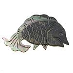 Pendants Natyrore Zi Shell, Black Shell, Peshk, Gdhendur, asnjë, asnjë, 58x36x3mm, : 1mm, 10PC/Shumë,  Shumë