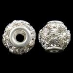 Beads bizhuteri Diamant i rremë, Tunxh, Round, Ngjyra argjend praruar, me diamant i rremë & i uritur, asnjë, , nikel çojë \x26amp; kadmium falas, 12mm, : 3mm, 5PC/Qese,  Qese