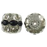 Beads bizhuteri bronzi, Tunxh, Kolonë, ngjyrë platin praruar, me diamant i rremë & i uritur, asnjë, , nikel çojë \x26amp; kadmium falas, 12x12mm, : 2mm, 10PC/Qese,  Qese