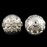 Beads Hollow tunxh, Round, Ngjyra argjend praruar, me diamant i rremë & i uritur, asnjë, , nikel çojë \x26amp; kadmium falas, 15mm, : 1mm, 10PC/Qese,  Qese