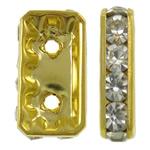 Ndarësit diamant i rremë, Tunxh, Drejtkëndësh, ngjyrë ari praruar, me diamant i rremë & double-vrimë, asnjë, , nikel çojë \x26amp; kadmium falas, 8x15x4mm, : 1.5mm, 10PC/Qese,  Qese