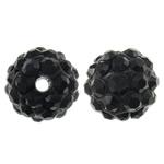 Rrëshirë Beads diamant i rremë, Round, asnjë, me diamant i rremë, e zezë, 10mm, : 1.5mm, 10PC/Qese,  Qese