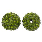 Diamant i rremë balta Beads hapë, Argjilë, Round, asnjë, me diamant i rremë, mollë jeshile, 14mm, : 1.5mm, 10PC/Qese,  Qese
