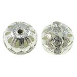 Beads bizhuteri bronzi, Tunxh, Round, Ngjyra argjend praruar, me diamant i rremë & i uritur, asnjë, , nikel çojë \x26amp; kadmium falas, 16mm, : 2mm, 10PC/Qese,  Qese
