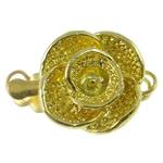 Box Gjetjet bronzi shtrëngim duarsh, Tunxh, Lule, ngjyrë ari praruar, vetme-fillesë, asnjë, , nikel çojë \x26amp; kadmium falas, 12x17x8mm, : 1-2mm, 10PC/Qese,  Qese