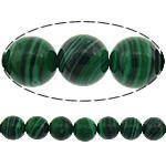Beads malakit, Round, i lyer, shirit, 6mm, : 1mm, :15.5Inç, 10Fillesat/Shumë, 67pcs/strand,  Shumë