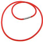 Cord gjerdan Moda, Silicone, with Tunxh, Shape Tjera, asnjë, i kuq, 3mm, 17x4mm, :18Inç, 100Fillesat/Shumë,  Shumë