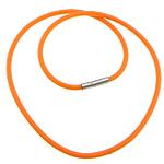 Cord gjerdan Moda, Silicone, with Tunxh, Shape Tjera, asnjë, portokall, 3mm, 17x4mm, :18Inç, 100Fillesat/Shumë,  Shumë