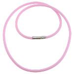 Cord gjerdan Moda, Silicone, with Tunxh, Shape Tjera, asnjë, rozë, 2mm, 14x3mm, :18Inç, 200Fillesat/Shumë,  Shumë