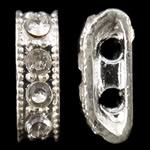 Zink Alloy Spacer Bar, Alloy zink, Shape Tjera, Ngjyra argjend praruar, me diamant i rremë & 2-fije floku, asnjë, , nikel çojë \x26amp; kadmium falas, 3.50x11x5mm, : 1mm, 10PC/Qese,  Qese
