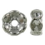 Beads Spacer tunxh, Petull e ëmbël në formë gjevreku, ngjyrë platin praruar, me diamant i rremë, asnjë, , nikel çojë \x26amp; kadmium falas, 6x3mm, : 1.5mm, 100PC/Qese,  Qese