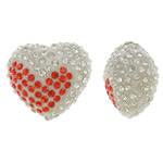Diamant i rremë balta Beads hapë, Argjilë, Zemër, asnjë, me diamant i rremë & gjysmë-shpuar, asnjë, 17x16x11mm, : 1mm, 10PC/Qese,  Qese