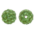 Diamant i rremë balta Beads hapë, Argjilë, Round, asnjë, me diamant i rremë, mollë jeshile, 10mm, : 1.5mm, 10PC/Qese,  Qese