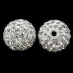 Diamant i rremë balta Beads hapë, Argjilë, Round, asnjë, me diamant i rremë, e bardhë, 14mm, : 1.5mm, 10PC/Qese,  Qese