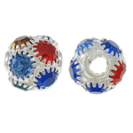 Beads bizhuteri Diamant i rremë, Tunxh, Round, Ngjyra argjend praruar, me një diamant i rremë klasën & i uritur, ngjyra të përziera, , nikel çojë \x26amp; kadmium falas, 10mm, : 3.5mm, 10PC/Qese,  Qese
