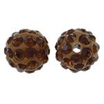 Diamant i rremë balta Beads hapë, Argjilë, Round, asnjë, me diamant i rremë, ngjyrë kafe, 10mm, : 1.5mm, 10PC/Qese,  Qese