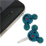Pluhuri kufje Jack Cap priza, Argjilë, with Plastik, Mickey Mouse, asnjë, me diamant i rremë, blu, 21x30x14mm, 10PC/Qese,  Qese
