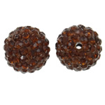 Diamant i rremë balta Beads hapë, Argjilë, Round, asnjë, me diamant i rremë, ngjyrë kafe, 14mm, : 1.5mm, 10PC/Qese,  Qese