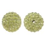 Diamant i rremë balta Beads hapë, Argjilë, Round, asnjë, me diamant i rremë, bezh, 14mm, : 1.5mm, 10PC/Qese,  Qese