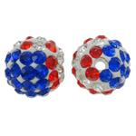 Diamant i rremë balta Beads hapë, Argjilë, Round, asnjë, me diamant i rremë, asnjë, 10mm, : 1.5mm, 10PC/Qese,  Qese