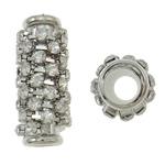 Beads bizhuteri Diamant i rremë, Tunxh, Tub, ngjyrë platin praruar, me diamant i rremë, asnjë, , nikel çojë \x26amp; kadmium falas, 11x25mm, : 5mm, 10PC/Qese,  Qese