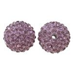 Diamant i rremë balta Beads hapë, Argjilë, Round, asnjë, me diamant i rremë, purpurtë drita, 14mm, : 1.5mm, 10PC/Qese,  Qese