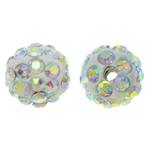 Diamant i rremë balta Beads hapë, Argjilë, Round, Ngjyra AB kromuar, me diamant i rremë, asnjë, 10mm, : 1.5mm, 10PC/Qese,  Qese