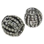 Beads bizhuteri bronzi, Tunxh, Daulle, plumbit ngjyrë të zezë praruar, me diamant i rremë & i uritur, asnjë, , nikel çojë \x26amp; kadmium falas, 21x19mm, : 10.5mm, 10PC/Qese,  Qese