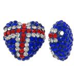 Diamant i rremë balta Beads hapë, Argjilë, Zemër, asnjë, me diamant i rremë, blu, 17x16x10mm, : 1mm, 10PC/Qese,  Qese
