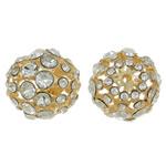 Beads bizhuteri Diamant i rremë, Tunxh, Round, ngjyrë ari praruar, me diamant i rremë & i uritur, asnjë, , nikel çojë \x26amp; kadmium falas, 24mm, : 2.5mm, 5PC/Qese,  Qese