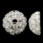 Bizhuteri tunxh Gjetja, Kube, Ngjyra argjend praruar, me diamant i rremë & i uritur, asnjë, , nikel çojë \x26amp; kadmium falas, 21x10mm, : 3.5mm, 10PC/Qese,  Qese