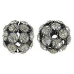 Beads bizhuteri Diamant i rremë, Tunxh, Daulle, plumbit ngjyrë të zezë praruar, me diamant i rremë & i uritur, asnjë, , nikel çojë \x26amp; kadmium falas, 28x25mm, : 5mm, 2PC/Qese,  Qese