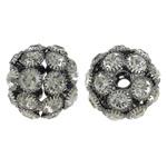 Beads bizhuteri Diamant i rremë, Tunxh, Daulle, plumbit ngjyrë të zezë praruar, me diamant i rremë & i uritur, asnjë, , nikel çojë \x26amp; kadmium falas, 24x23mm, : 4mm, 10PC/Qese,  Qese