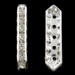 Ndarësit diamant i rremë, Tunxh, Shape Tjera, Ngjyra argjend praruar, 5-fije floku & me diamant i rremë, asnjë, , nikel çojë \x26amp; kadmium falas, 35x8x5mm, : 1.5mm, 100PC/Qese,  Qese