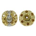 Beads bizhuteri bronzi, Tunxh, Round, ngjyrë ari praruar, me diamant i rremë & i uritur, asnjë, , nikel çojë \x26amp; kadmium falas, 8mm, : 1mm, 100PC/Qese,  Qese