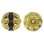Beads bizhuteri bronzi, Tunxh, Round, ngjyrë ari praruar, me diamant i rremë & i uritur, asnjë, , nikel çojë \x26amp; kadmium falas, 10mm, : 1.5mm, 100PC/Qese,  Qese