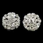 Beads bizhuteri bronzi, Tunxh, Round, Ngjyra argjend praruar, me diamant i rremë & i uritur, asnjë, , nikel çojë \x26amp; kadmium falas, 23mm, : 2.5mm, 5PC/Qese,  Qese