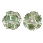 Beads bizhuteri bronzi, Tunxh, Round, Ngjyra argjend praruar, me diamant i rremë & i uritur, asnjë, , nikel çojë \x26amp; kadmium falas, 12mm, : 1.5mm, 10PC/Qese,  Qese