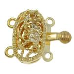 Box Gjetjet bronzi shtrëngim duarsh, Tunxh, Oval, ngjyrë ari praruar, 2-fije floku, asnjë, , nikel çojë \x26amp; kadmium falas, 17x14x7mm, : 2mm, 10PC/Qese,  Qese