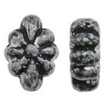 Antique Beads akrilik, Lule, Ngjyra antike argjendi praruar, asnjë, asnjë, 8x12x5mm, : 1mm, 1940PC/Qese,  Qese