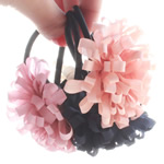 Ponytail Holder, Flower, elastic nylon cord with silk, mixed, 6.5cm, Approx 100PCs/Lot, Sold by Lot