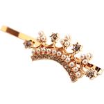 Slide flokët, Alloy zink, with Glass Pearl, Kurorë, ngjyrë ari praruar, me diamant i rremë, asnjë, , nikel çojë \x26amp; kadmium falas, 5cm, 17PC/Shumë,  Shumë