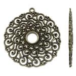 Alloy zink, Round Flat, Ngjyra antike bronz i praruar, i uritur, asnjë, , nikel çojë \x26amp; kadmium falas, 49x53x2mm, : 2.5mm, 100PC/KG,  KG
