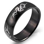 Çeliku Stainless Ring Finger, 316L Stainless Steel, Shape Tjera, Gdhendur, për njeriun, e zezë, 6mm, :10, 3PC/Shumë,  Shumë