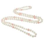 Ujërave të ëmbla Pearl gjerdan Crystal, Pearl kulturuar ujërave të ëmbla, with Kristal, Shape Tjera, natyror, e bardhë, 8-9mm, 10x9nmm, :48Inç,  48Inç,